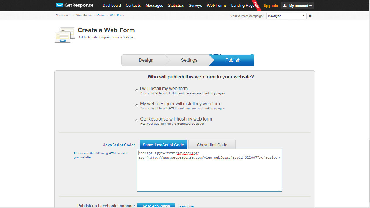 adding a custom getresponse form to your landing page think