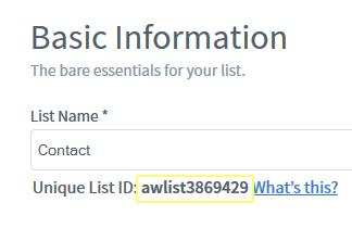 Aweber Listname