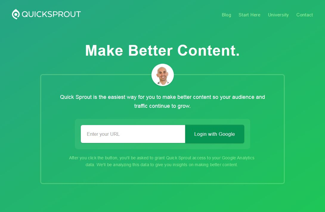 quicksprout.com home page
